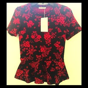 Zara Black top with Red Flowers